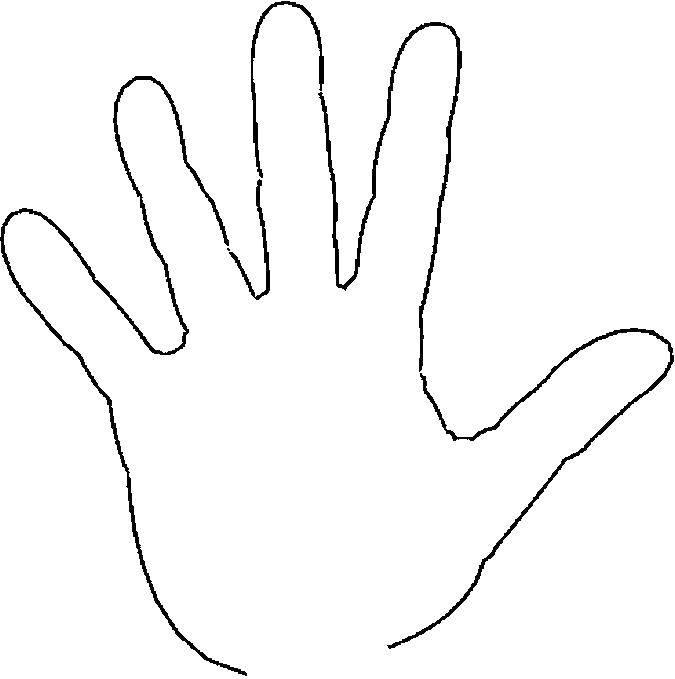 Раскраска Ладонь руки Скачать рука, ладонь левой руки.  Распечатать ,Контур руки и ладошки для вырезания,