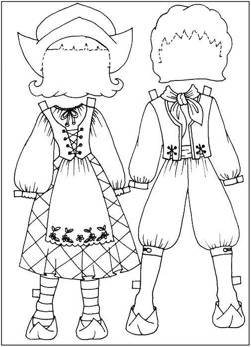 Раскраска одежда и кукла Скачать ,люди, дети,.  Распечатать