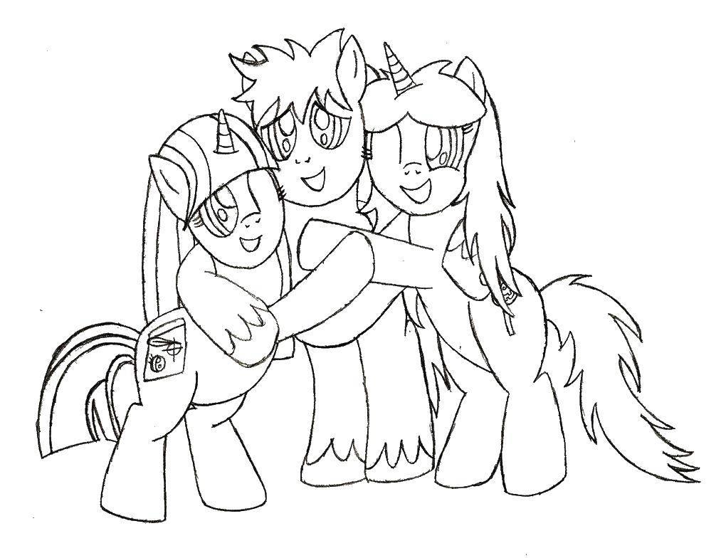 Раскраска Пони обнимаются. Скачать пони, лошадки.  Распечатать ,Пони,