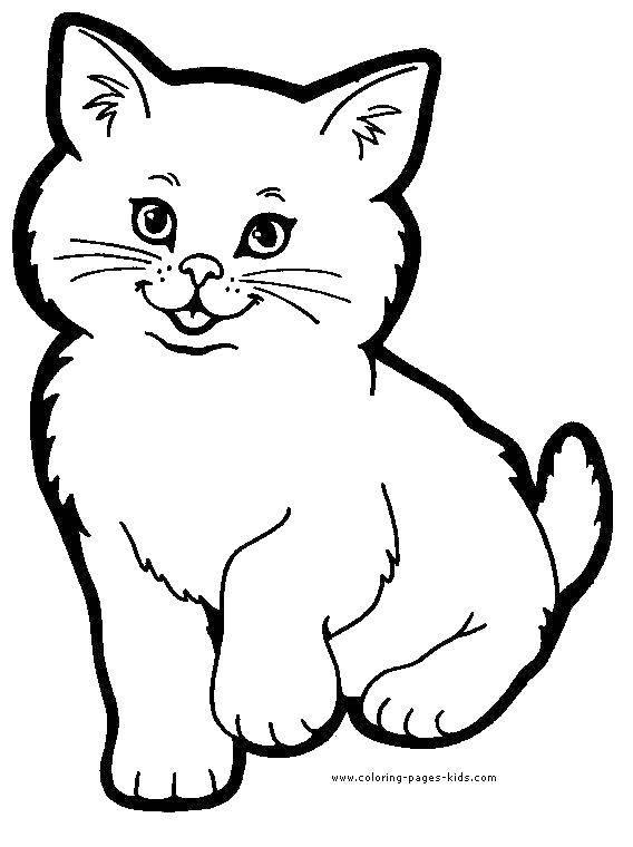 Раскраска Пушистая кошка Скачать животные, кошки, кошка, киска.  Распечатать ,животные,