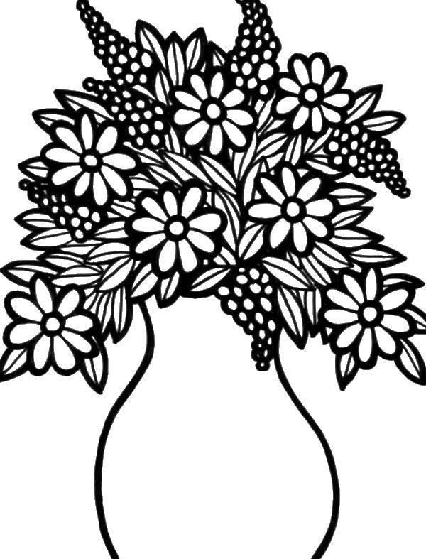 Раскраска Ромашки в вазе Скачать ваза, цветы, ромашки.  Распечатать ,Ваза,