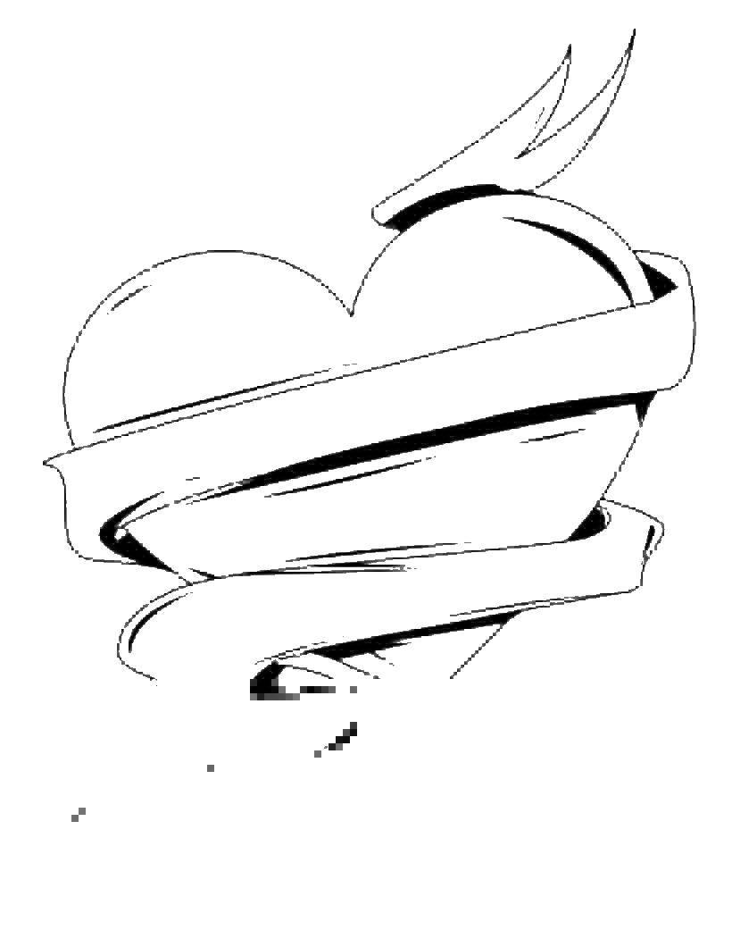 Раскраска Сердце с ленточкой Скачать лент, сердечко.  Распечатать ,День святого валентина,