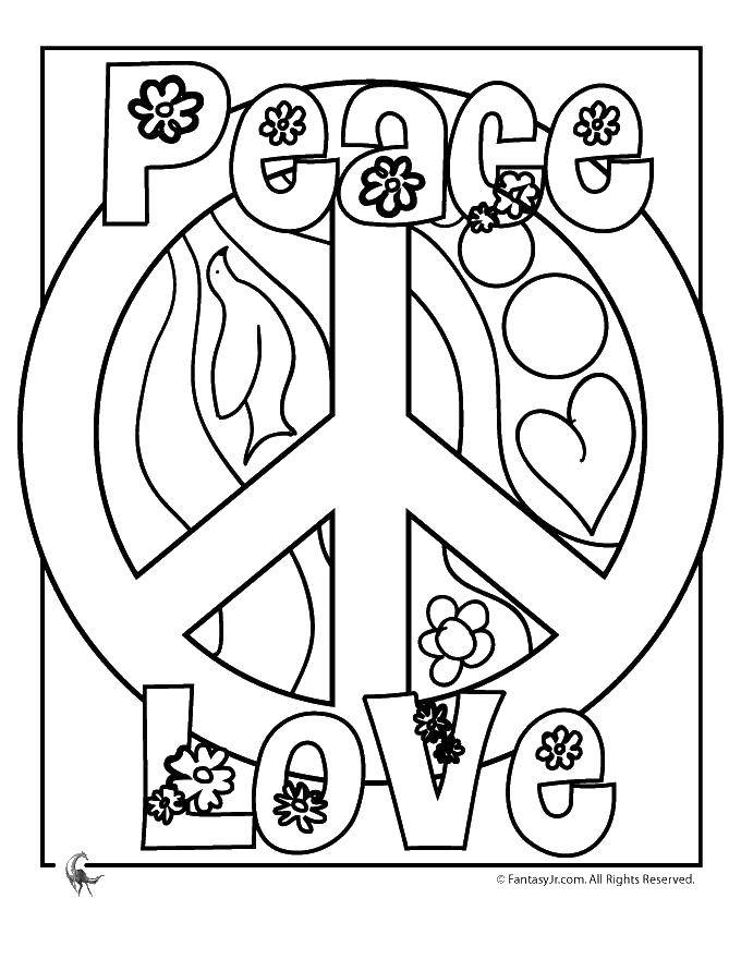 Раскраска Знак мир Скачать знаки, мир, хиппи.  Распечатать ,раскраски,