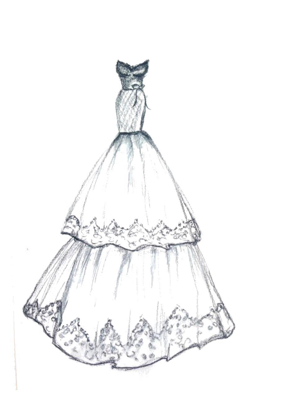 Название: Раскраска Шикарное подиумное платье. Категория: Платья. Теги: платья, одежда.