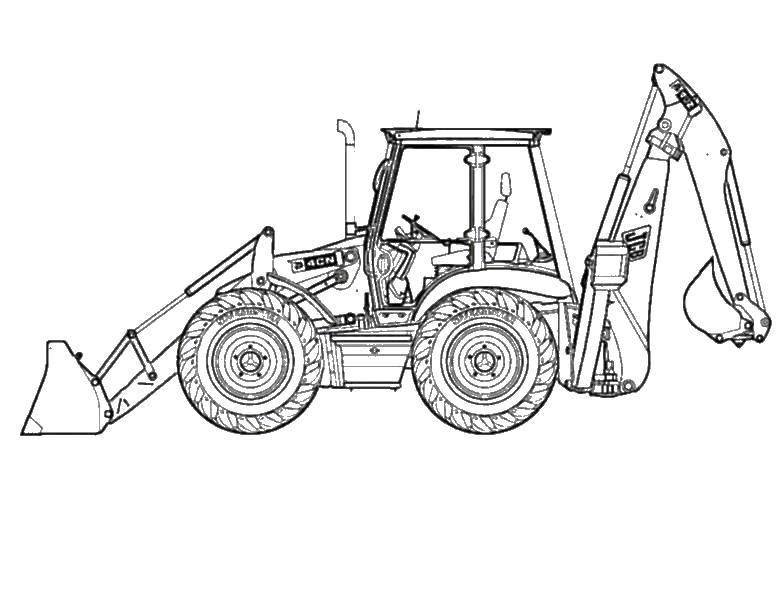 Раскраска трактор Скачать ,тракторы, бульдозеры, спецтехника,.  Распечатать