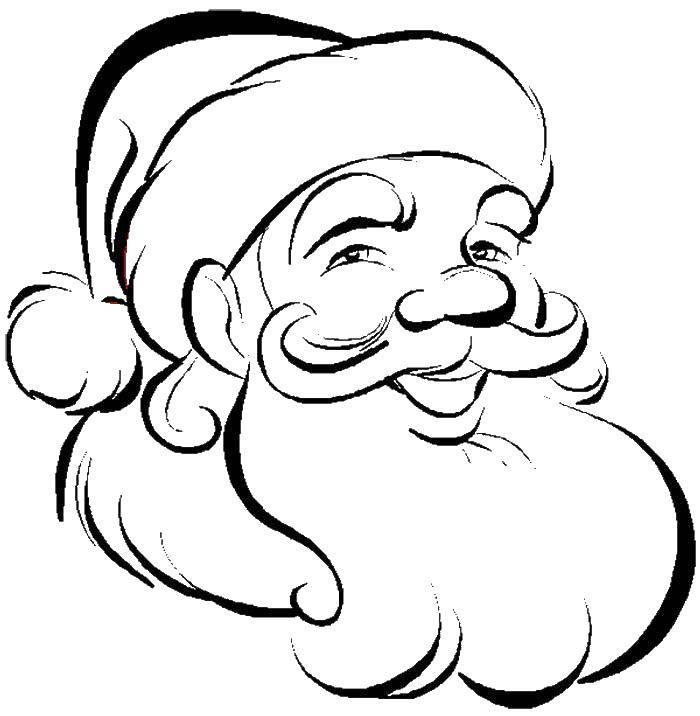 Раскраска Голова санта клауса Скачать голова, шапка, борода, дед мороз.  Распечатать ,новый год,