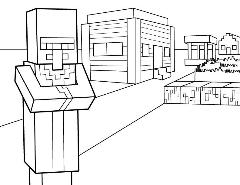 Раскраска Город майнкрафтт Скачать Игры, Майнкрафт.  Распечатать ,майнкрафт,