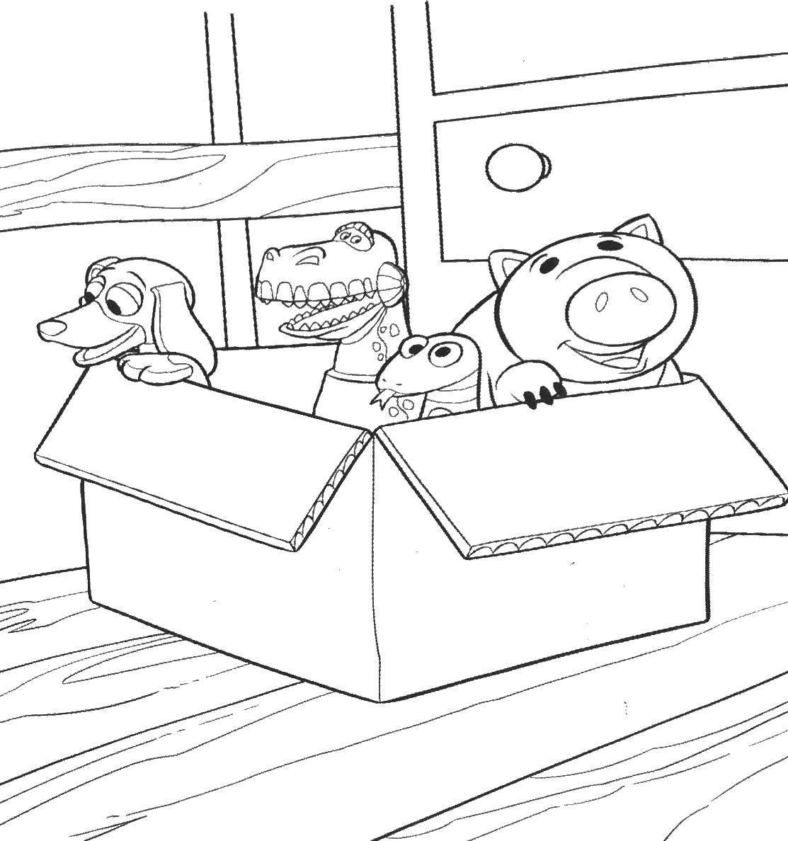 Раскраска Коробка с игрушками. Скачать Игрушки, коробка.  Распечатать ,раскраски,