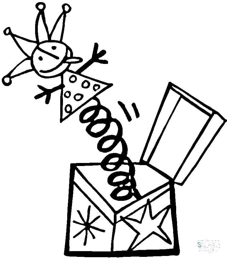 Раскраска Коробка сюрприз. Скачать Игрушка, клоун.  Распечатать ,раскраски,
