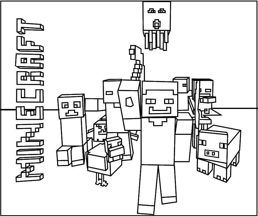 Раскраска Майнкрафт персонажи игры Скачать майнкрафт, персонажи.  Распечатать ,майнкрафт,