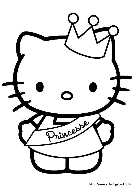 Раскраска Принцесса китти. Скачать хэллоу китти, принцесса.  Распечатать ,Хэллоу Китти,