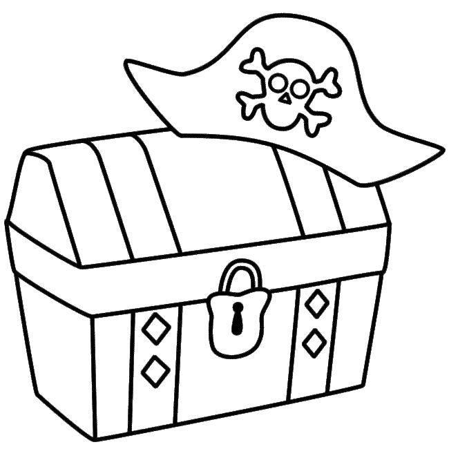 Раскраска Шляпа пирата на сундуке. Скачать Пират, остров, сокровища.  Распечатать ,Пираты,
