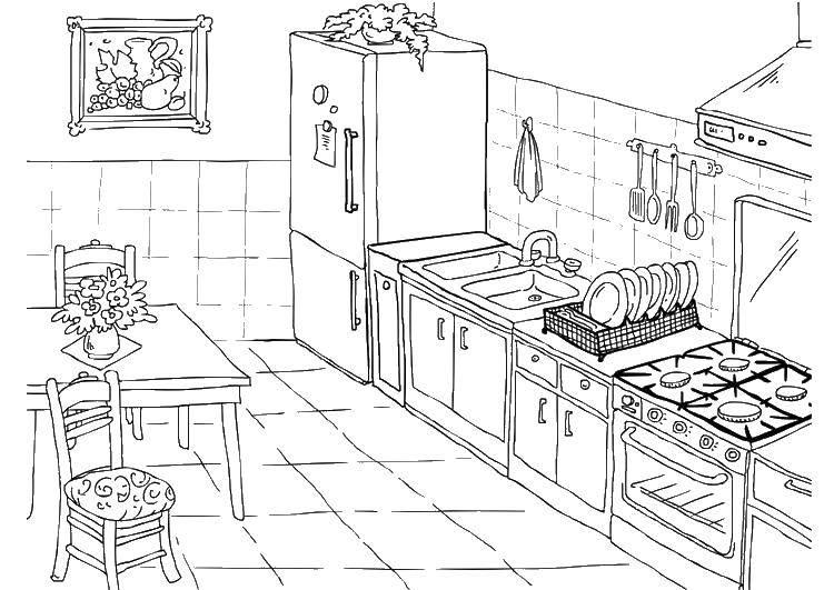 Раскраска Ухоженная кухня Скачать Кухня, дом, еда.  Распечатать ,кухня,