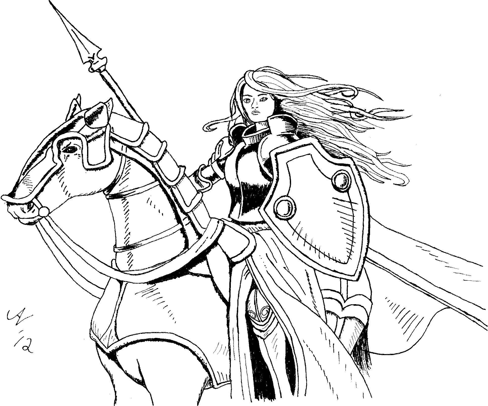 Название: Раскраска Эльф верхом на коне. Категория: властелин колец. Теги: властелин колец, Арагорн.
