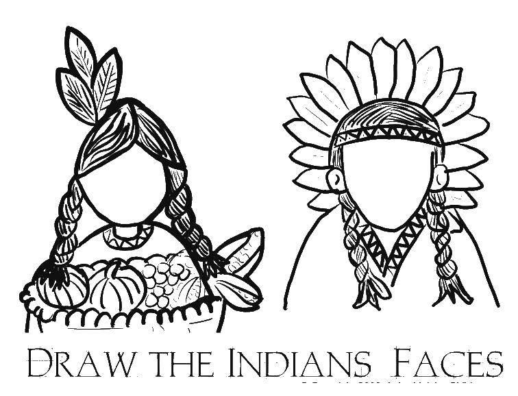 Раскраска Дорисуй лицо индейца Скачать индейцы.  Распечатать ,индейцы,