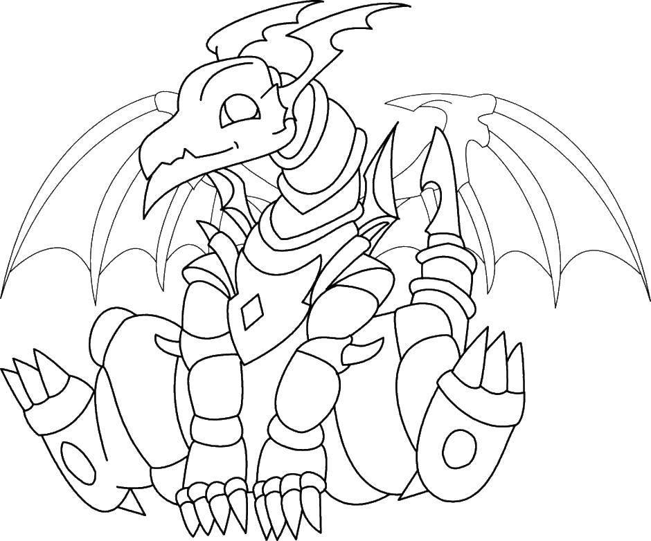 Раскраска Дракон в доспехах Скачать дракон, доспехи.  Распечатать ,Драконы,