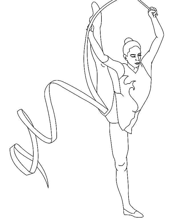 Раскраска Гимнастка с ленточкой Скачать гимнастка, с ленточкой.  Распечатать ,гимнастика,