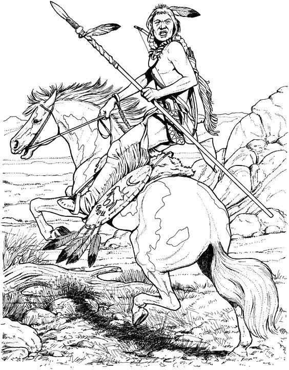Раскраска Индеец с копьём на лошади Скачать Индеец.  Распечатать ,индейцы,