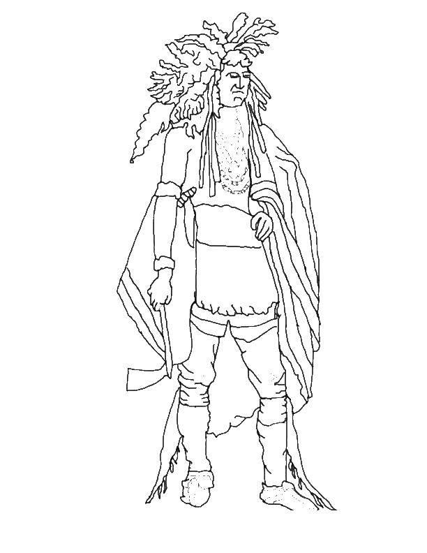 Раскраска Индеец с топором Скачать индейцы.  Распечатать ,индейцы,