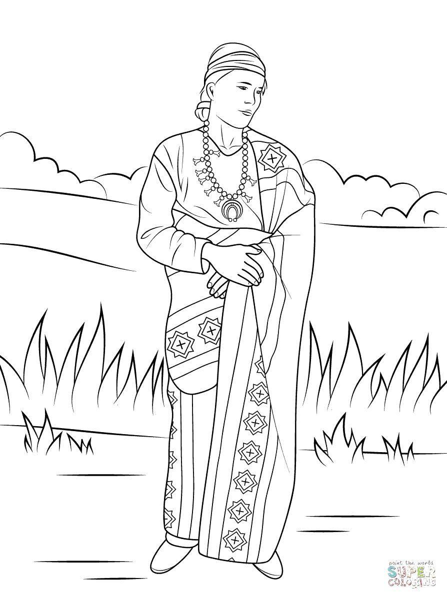 Раскраска Индейский наряд Скачать Индеец.  Распечатать ,индейцы,