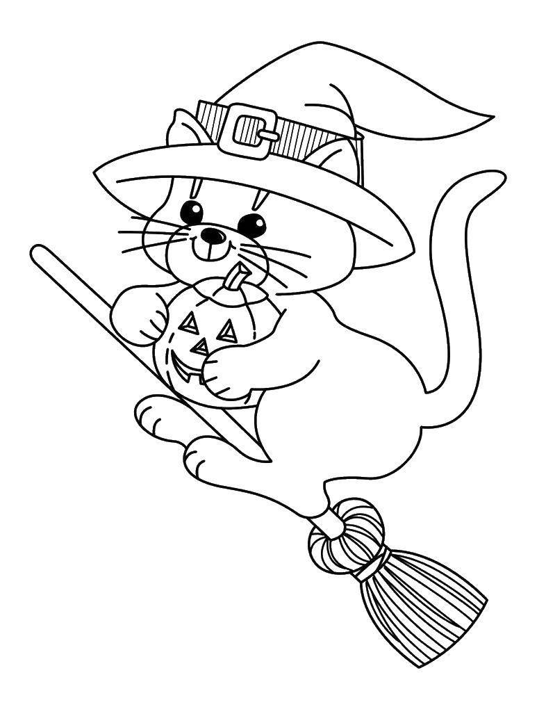 Раскраска ведьма Скачать Хэллоу Китти.  Распечатать ,Хэллоу Китти,