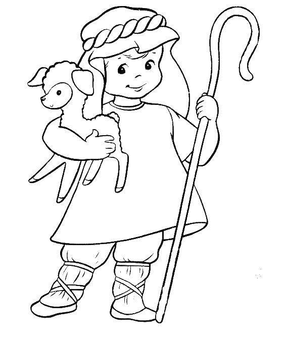 Раскраска Пастух с овечкой и посохом Скачать пастух, овца.  Распечатать ,библия,