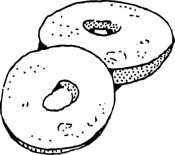 Раскраска Пончики Скачать пончик, еда.  Распечатать ,еда,