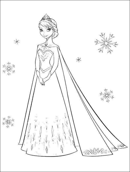 Раскраска Принцесса эльза в короне Скачать холодное сердце, Анна, Эльза.  Распечатать ,раскраски холодное сердце,