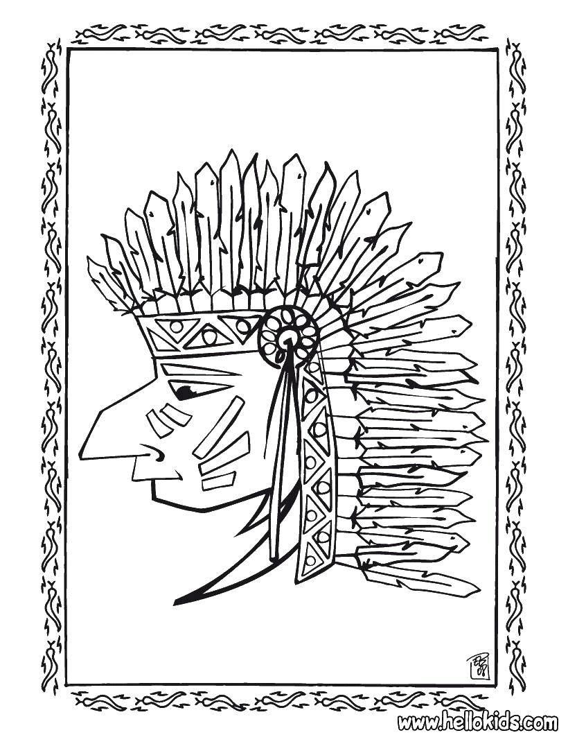 Раскраска Профиль индейца Скачать Индеец.  Распечатать ,индейцы,