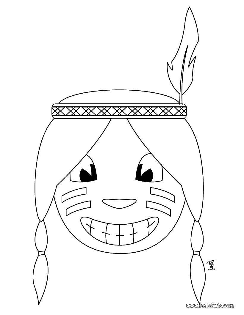 Раскраска Счастливый индеец Скачать Индеец.  Распечатать ,индейцы,