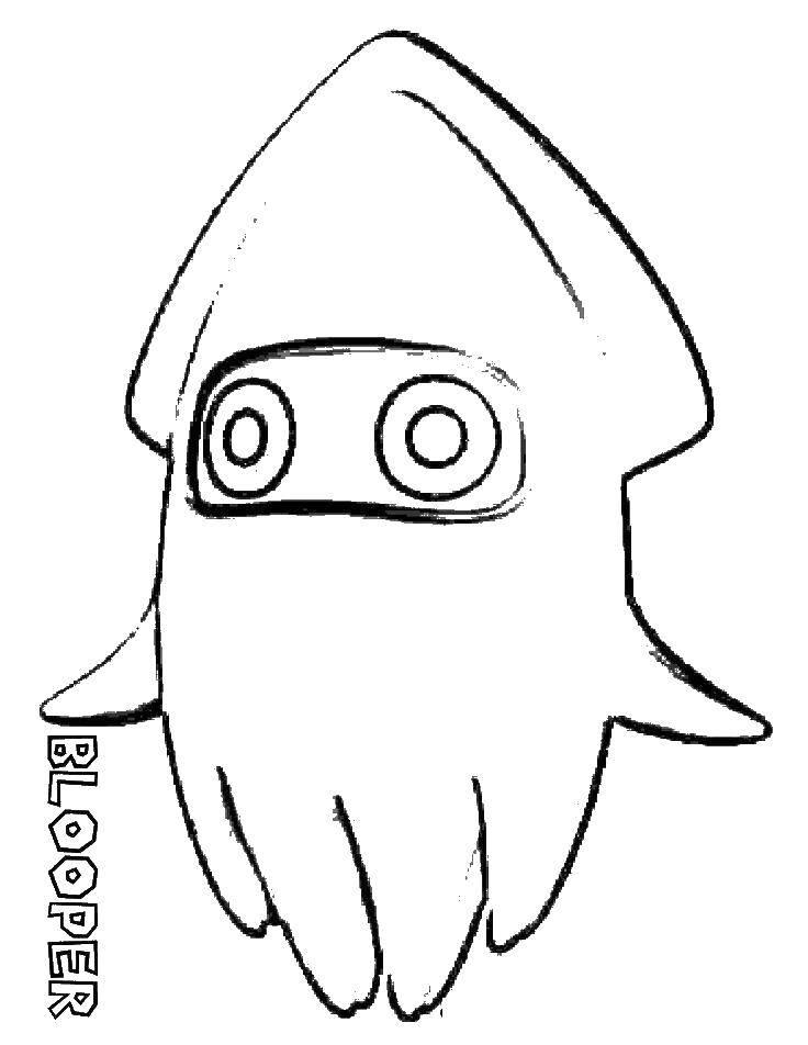 Раскраска Спрут блупер Скачать Марио, персонаж игры, Спрут Блупер.  Распечатать ,марио,