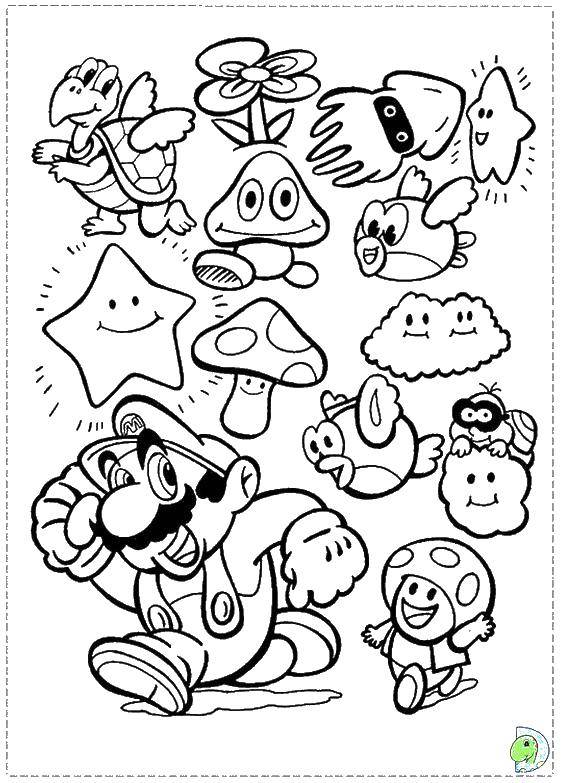 Название: Раскраска Супер марио и персонажи игры. Категория: марио. Теги: Марио, персонаж игры.