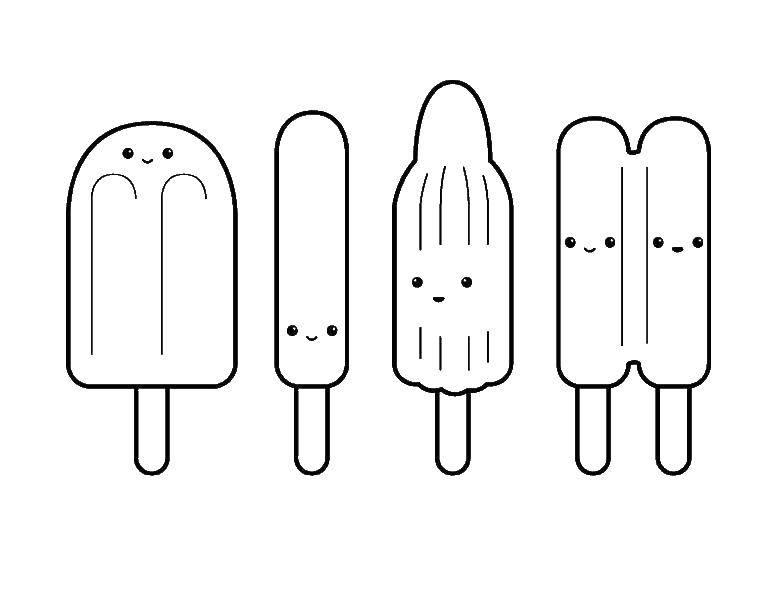 Раскраска мороженое Скачать ,катара, струны, узоры,.  Распечатать