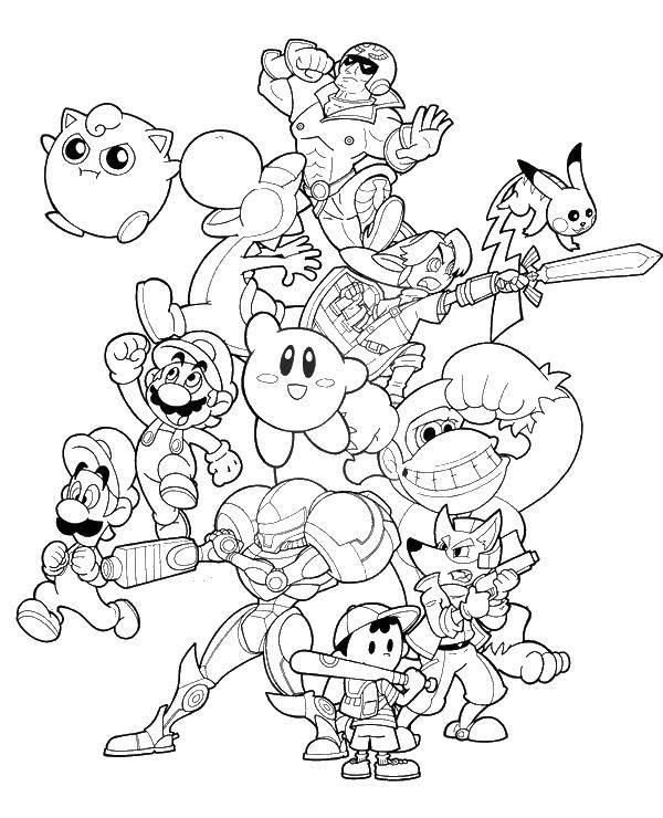 Название: Раскраска Кирби персонажи игры. Категория: Кирби. Теги: Кирби, игра.