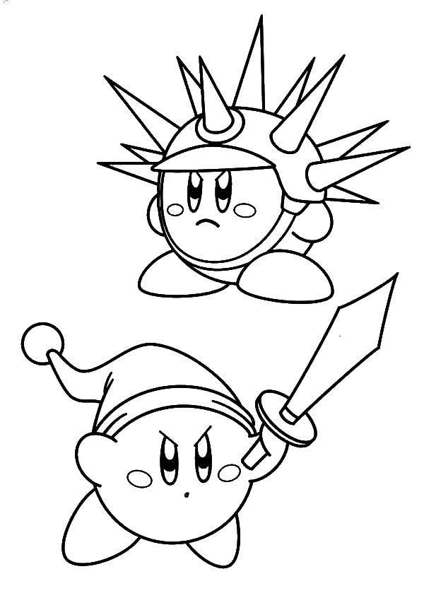 Название: Раскраска Кирби в доспехе и с мечем. Категория: Кирби. Теги: Кирби, игра.