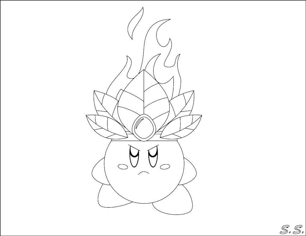 Название: Раскраска Кирби в короне. Категория: Кирби. Теги: Кирби, игра.