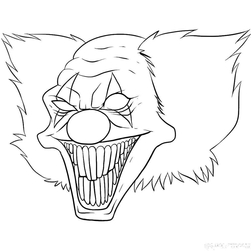 Раскраска маска Скачать ,маска, клоун,.  Распечатать