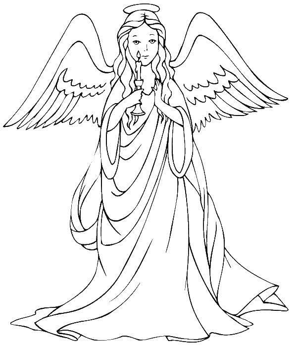 Раскраска Ангел с свечкой. Скачать ангел, свеча.  Распечатать ,ангелы,