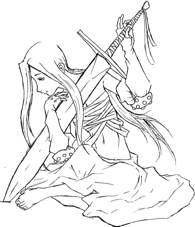 Раскраска Девушка с мечом Скачать аниме, девушка, меч.  Распечатать ,аниме,