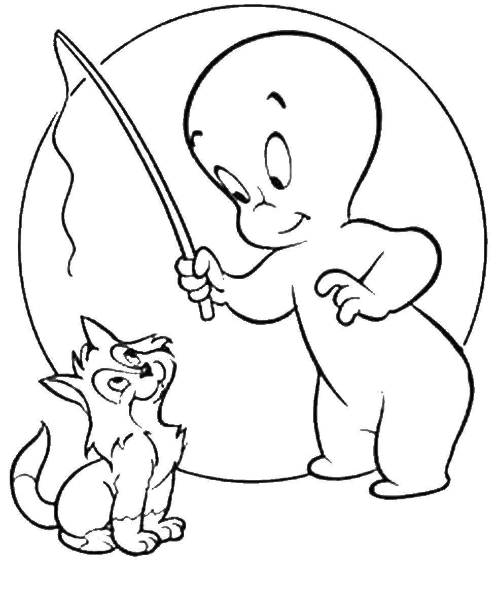 Раскраска Каспер на рыбалке с кошкой. Скачать Приведение, Каспер, .  Распечатать ,Приведение Каспер,