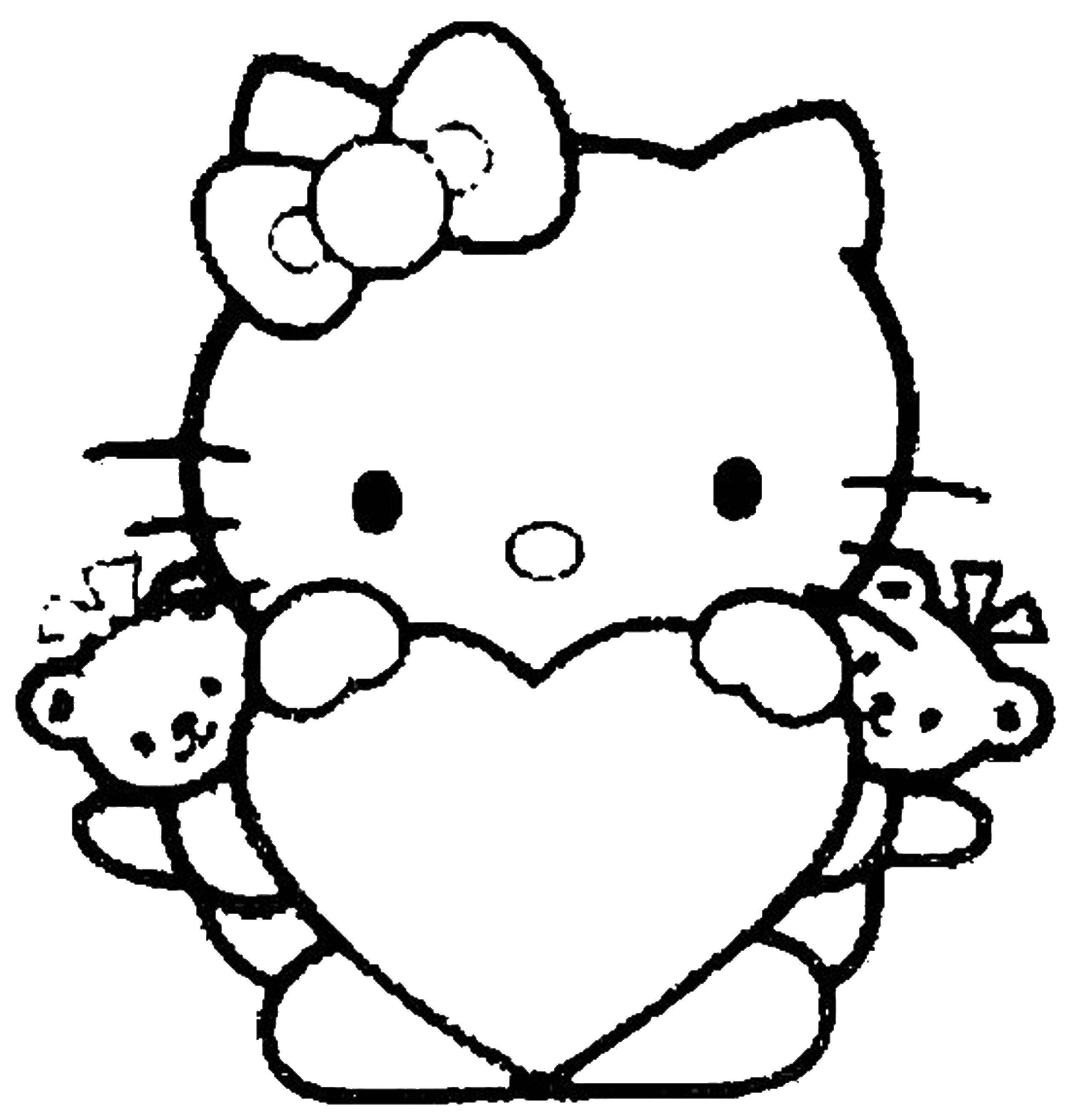Раскраска Китти Скачать ,хэллоу, китти, сердце, кошка,.  Распечатать