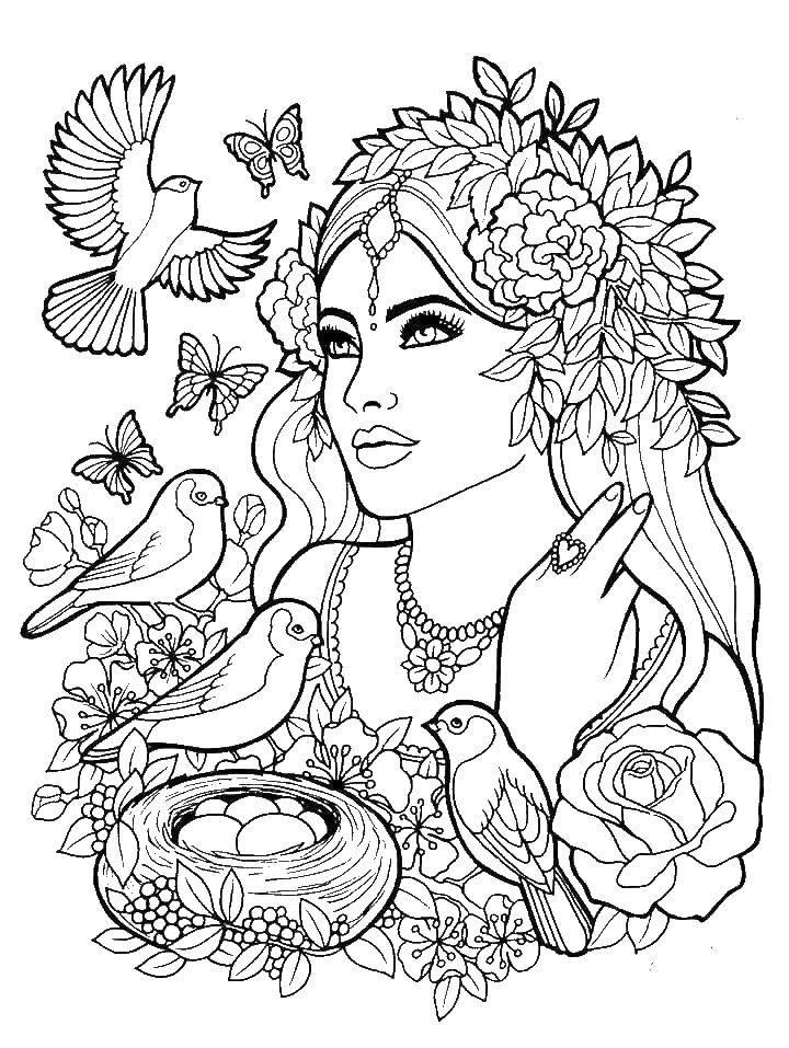 Раскраска Красивая девушка в цветах и с птицаи Скачать девушка, цветы, красота, птицы.  Распечатать ,раскраски для девочек,