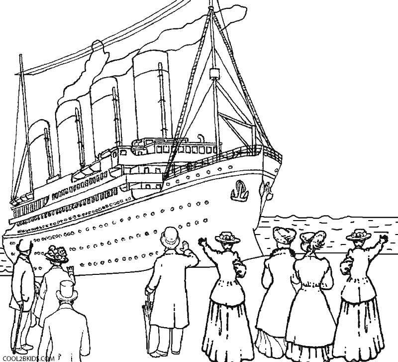 Раскраска Люди провожают титаник Скачать Титаник, корабль.  Распечатать ,Титаник,