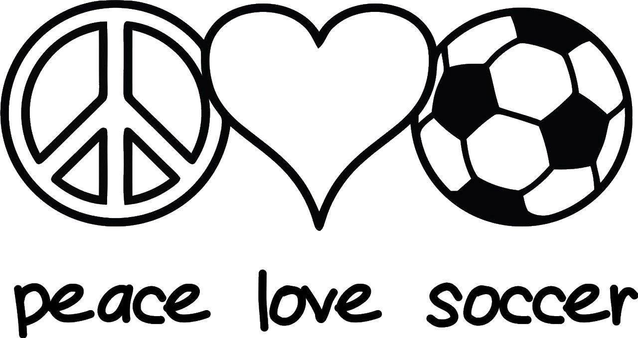 Раскраска Мир любит соккер Скачать Спорт, футбол, мяч, игра.  Распечатать ,Футбол,
