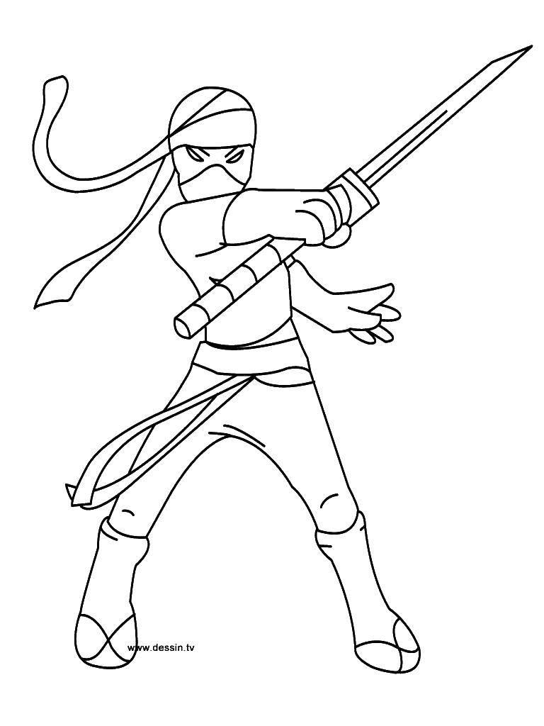 Раскраска Ниндзя воин. Скачать ниндзя.  Распечатать ,ниндзя,