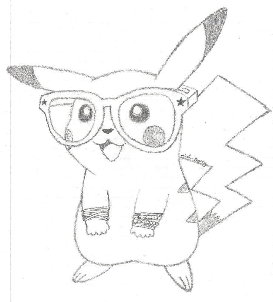 Раскраска Пикачу в очках Скачать покемоны, Эш, пикачу.  Распечатать ,раскраски,