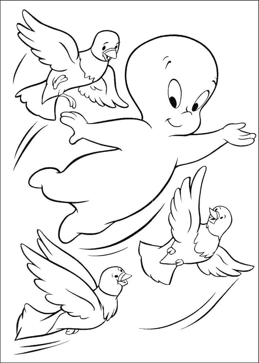 Раскраска Приведение Каспер Скачать мультфильмы, черепашки ниндзя.  Распечатать ,черепашки ниндзя,