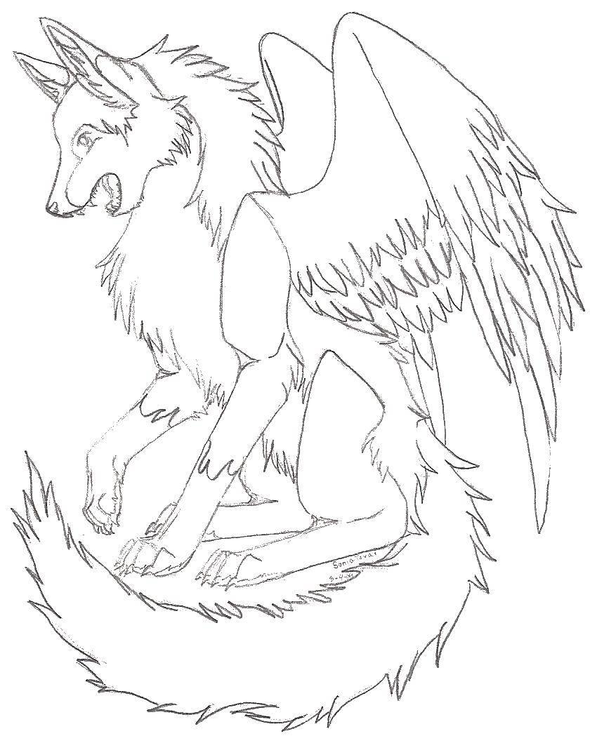 раскраски раскраска волк с крыльями ангела волк раскраски