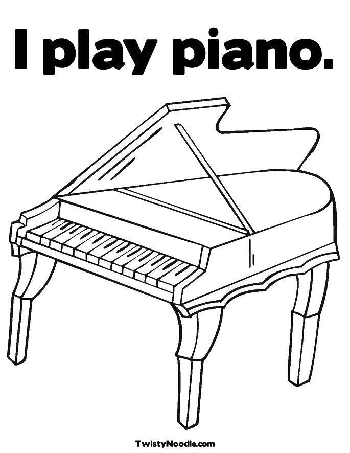 Раскраска Я играю на пианино Скачать Музыка, инструмент, музыкант, ноты.  Распечатать ,Пианино,