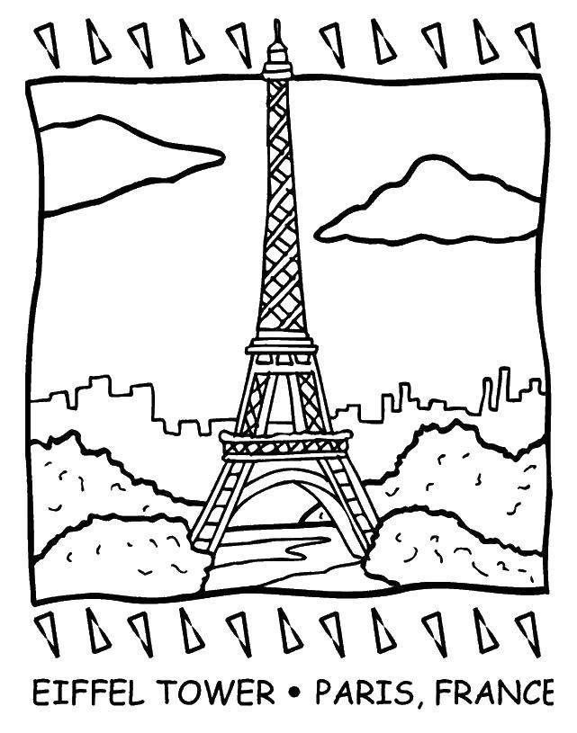 Раскраска Башня в париже. Скачать Франция, Эйфелева башня, Париж.  Распечатать ,раскраски,